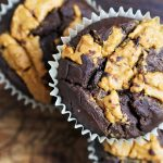Black Bean Brownie- Muffins with Peanutbutter Topping